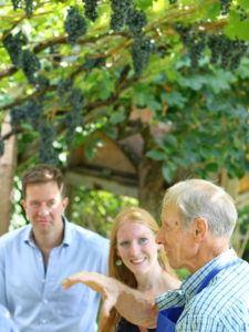 Senior Heinrich with visitors in Alto Adige vineyard