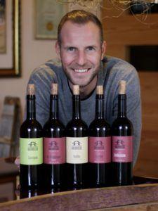 Thomas and his Alto Adige Wines bottles